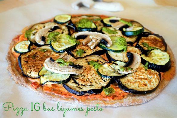 Pizza aux légumes grillés et pesto, IG bas