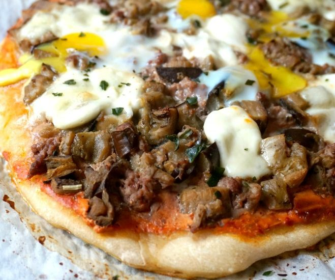 Pizza aubergine boeuf - Rappelle toi des mets
