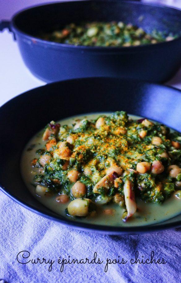 Curry épinards pois chiches fruits de mer