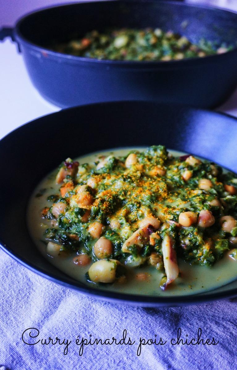 Curry épinards pois chiches - Rappelle toi des mets