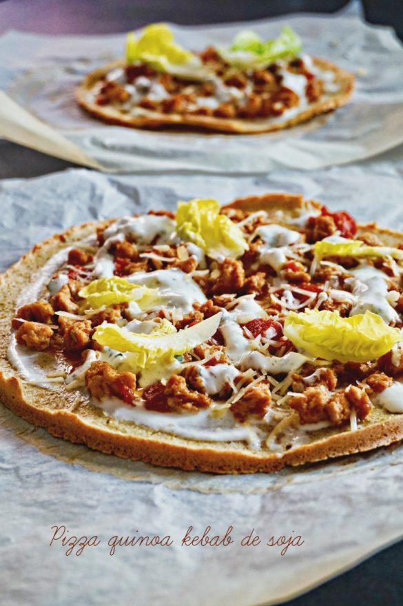 Pizza au quinoa, kebab de protéines de soja