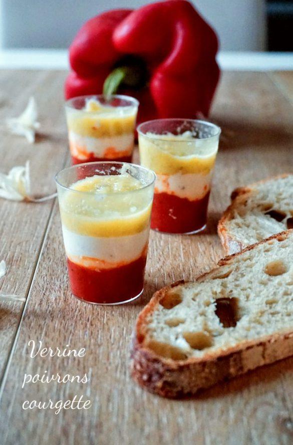 Verrines courgette poivrons boursin
