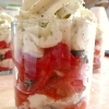 Verrine tomate mozzarella chantilly basilic